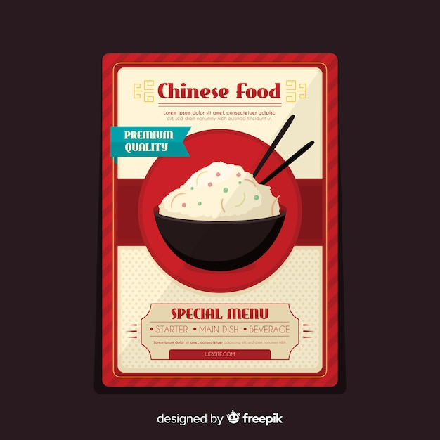 Rice bowl chinese food flyer Free Vector