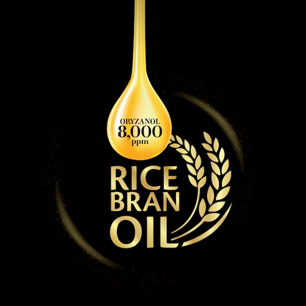 Rice bran oil illustration. Premium Vector
