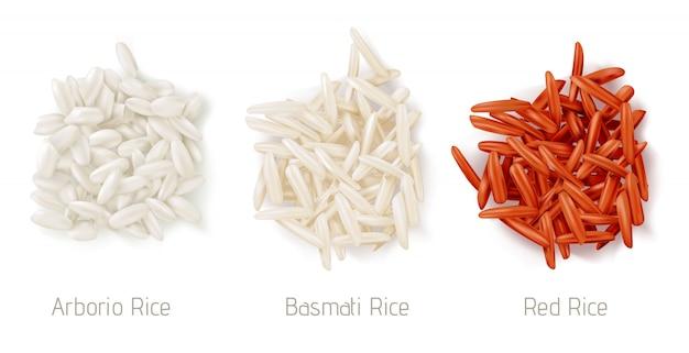 米粒ヒープ、アルボリオ、バスマティ、赤米 無料ベクター