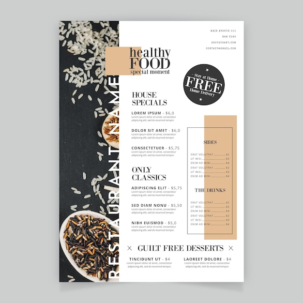 Rice healthy foodrestaurant menu Free Vector