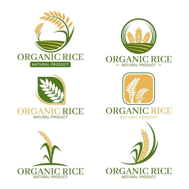 Collezione di logo di riso Vettore gratuito