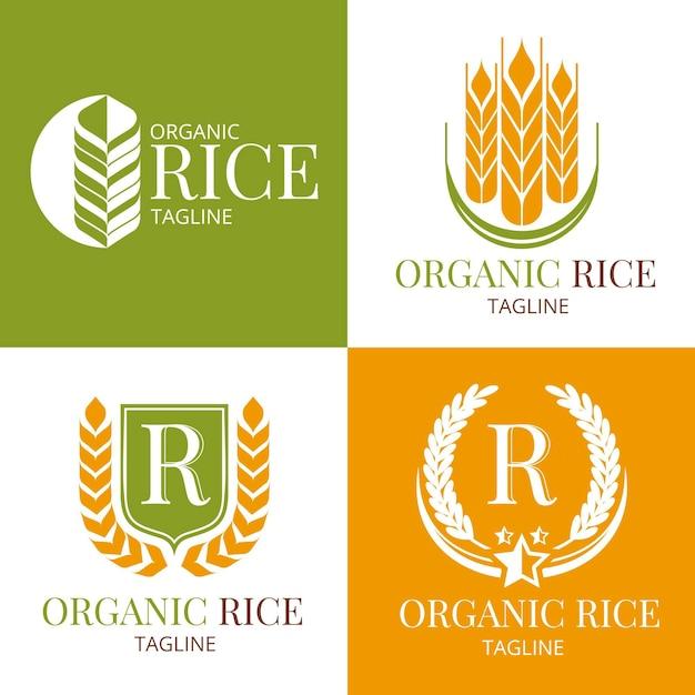Rice logo collection Premium Vector