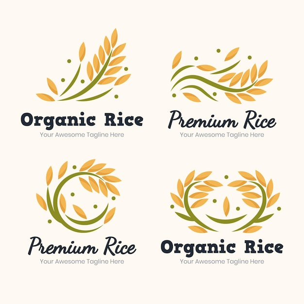 Rice logo template collection Free Vector