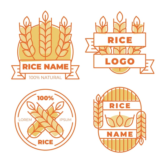 Rice logo template pack Free Vector