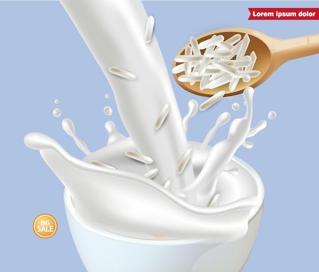 Rice milk mockup Premium Vector
