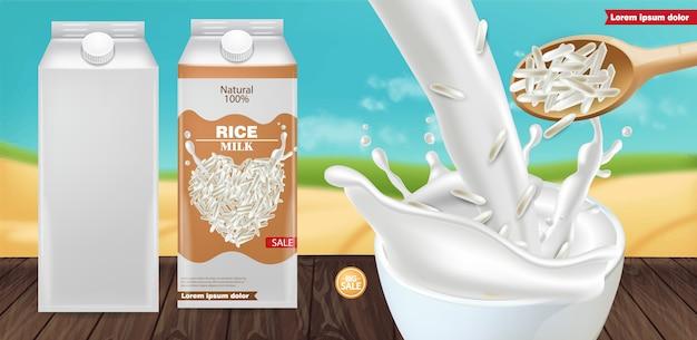 Rice milk splash mockup Premium Vector