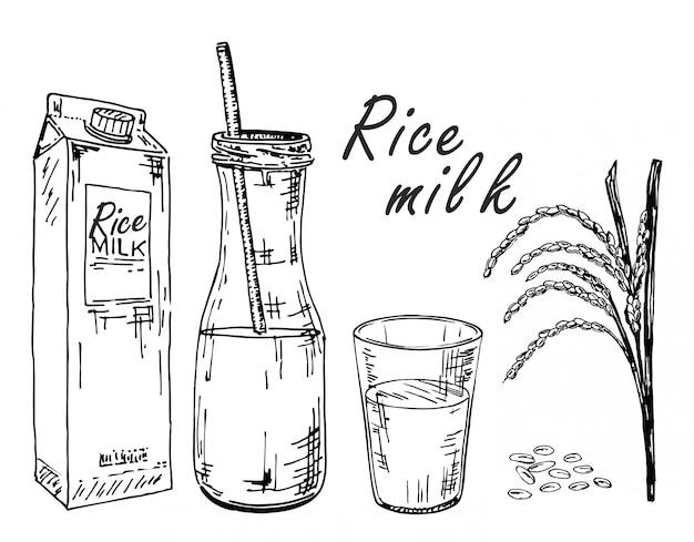 ライスミルク。野菜牛乳のスケッチ。バッグ、ボトル、グラスに入ったライスミルク。スパイクとご飯。 Premiumベクター
