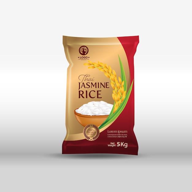 Рисовый пакет макет таиланд пищевых продуктов иллюстрация Premium векторы