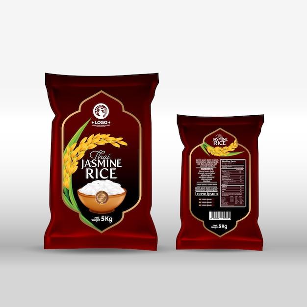 Пакет риса продукты питания таиланда Premium векторы