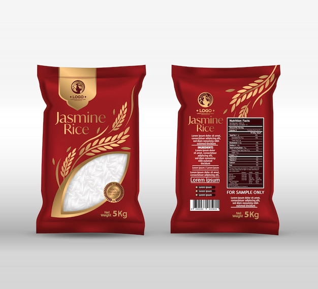 Rice package  thailand food products Premium Vector