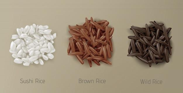 Рисовые суши, коричневые и дикие зерна сваи вид сверху Бесплатные векторы