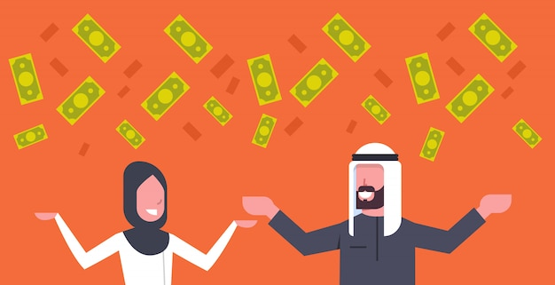 Rich arab couple business man and woman throwing money up muslim financial success concept Premium Vector