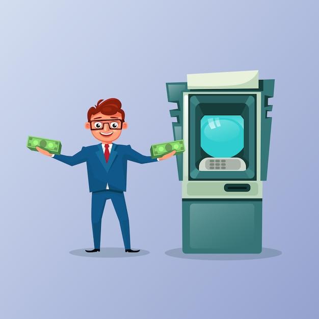 Rich business man holding money cash over atm machine background Premium Vector