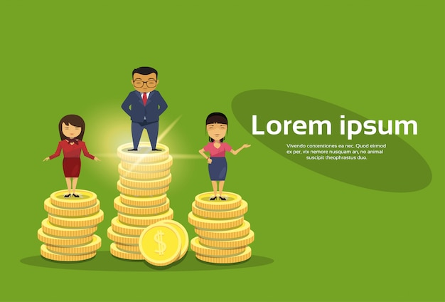 Rich business people group standing on stack of golden coins Premium Vector