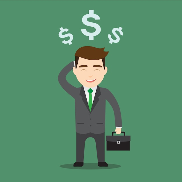 Rich businessman character Free Vector