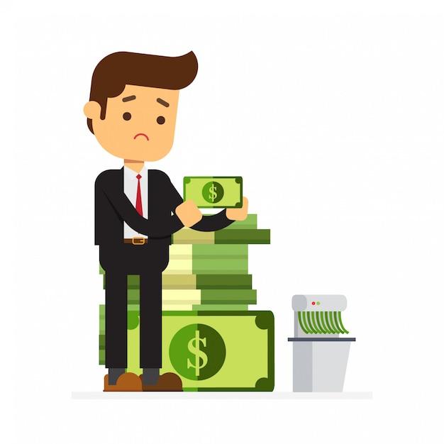Rich businessman shredding money Premium Vector