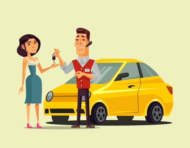 豊かな幸せな笑顔の女性キャラクター購入車と彼女の輸送販売小売分離ベクトルイラストに鍵を与える売り手マネージャーの男 Premiumベクター