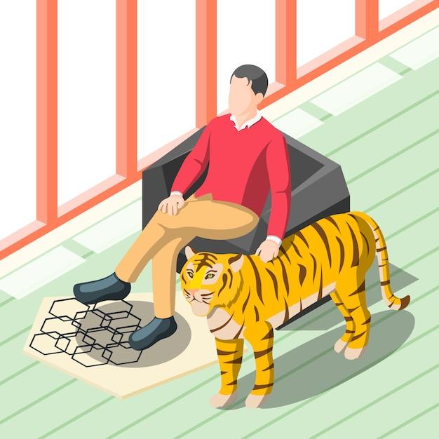 Rich man patting tiger Free Vector