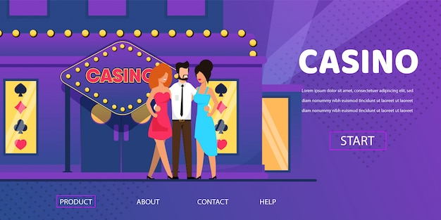 Rich man with beautiful woman near casino entrance Premium Vector