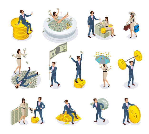 Rich people isometric icons Free Vector
