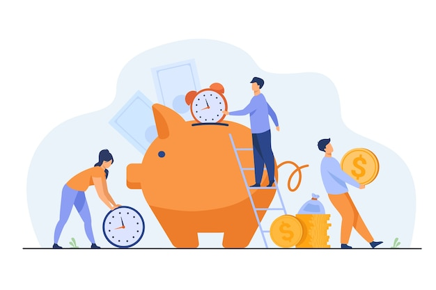 Rich people keeping cash and clocks in piggy bank. vector illustration for time is money, business, time management, wealth concept Free Vector