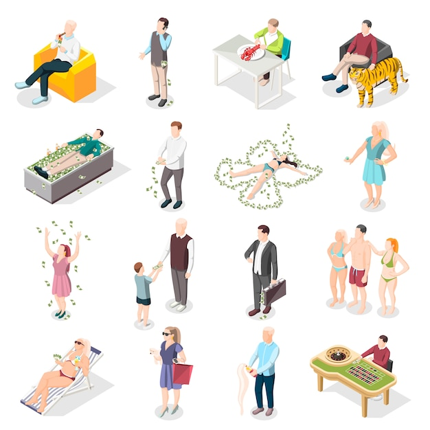 Rich people and rich life isometric icons Free Vector