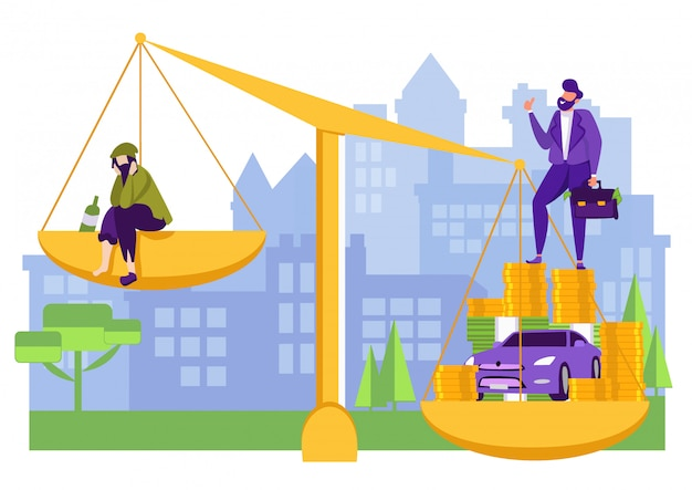 Rich and poor men comparison on balance scale. Premium Vector