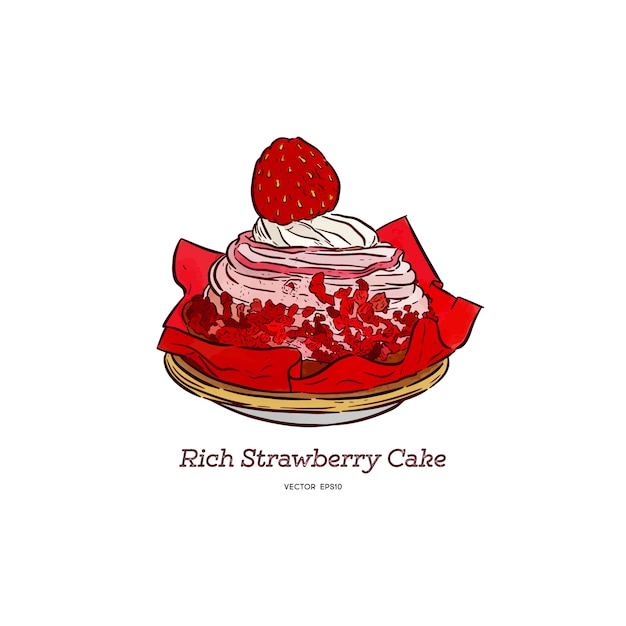 Rich strawberry cake Premium Vector