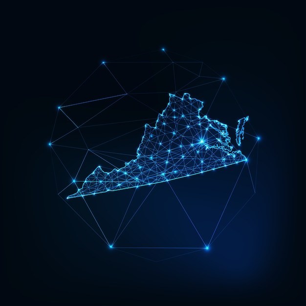 Richmond state usa map glowing silhouette outline made of stars lines dots triangles Premium Vector