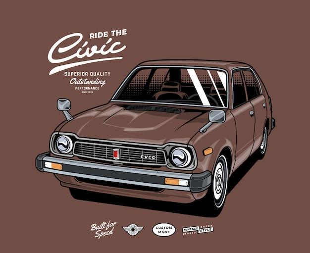 Ride the classic car Premium Vector