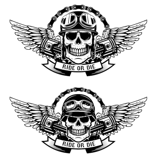 Ride or die. set of the skulls in racer helmets with wings  on white background.   elements for emblem, sign, label, t-shirt.  illustration Premium Vector