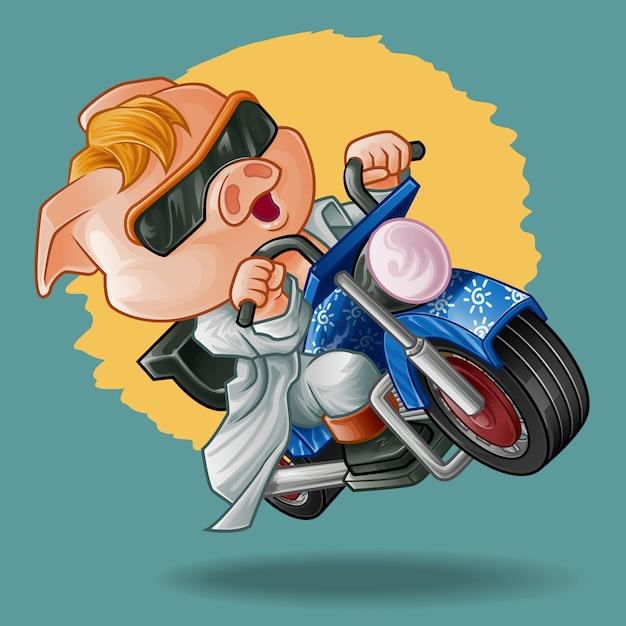 Rider pig. Premium Vector