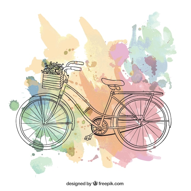 Riding a bike, Vintage postcard Free Vector