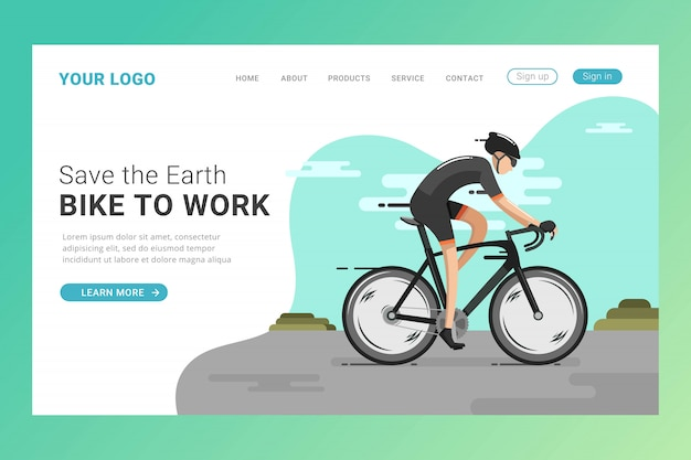 Riding bicycle landing page template Premium Vector
