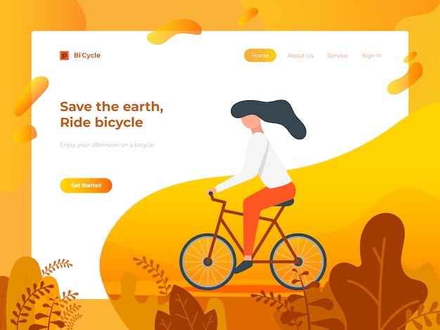 Riding bicycle for website and mobile development. Premium Vector