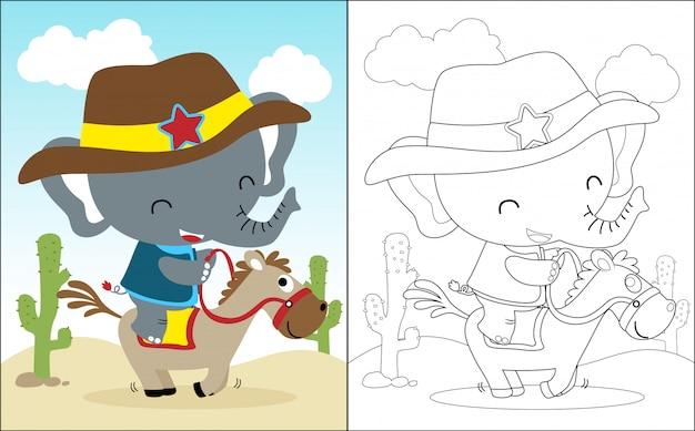 Riding horse cartoon with funny elephant Premium Vector
