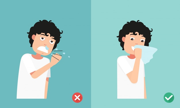 Right and wrong sneezing in hand Premium Vector