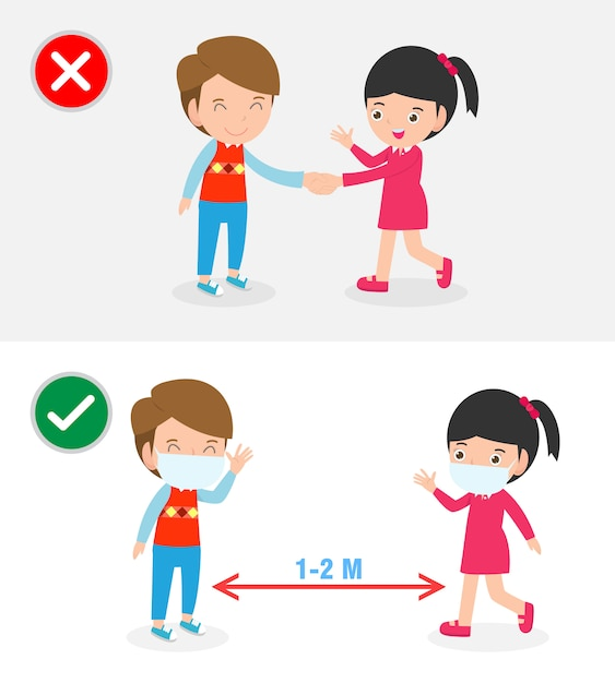 Right and wrong ways and prevention tips of coronavirus 2019 ncov. no handshake and social distancing, safe greeting no handshake no hands contact isolated on white background illustration. Premium Vector
