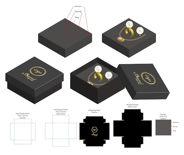 Rigid box for necklace ring earring product mockup Premium Vector
