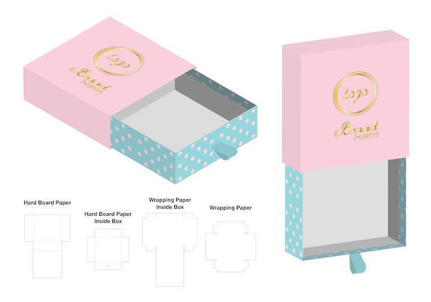 Rigid box packaging die cut template 3D mockup Vector | Premium Download