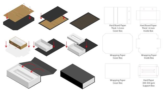 Rigid Magnet Box Template 3d Mockup With Dieline Premium Vector