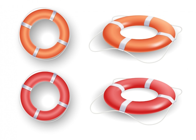 Ring buoy set with red and orange color, with different angles isolated  .   illustration Premium Vector