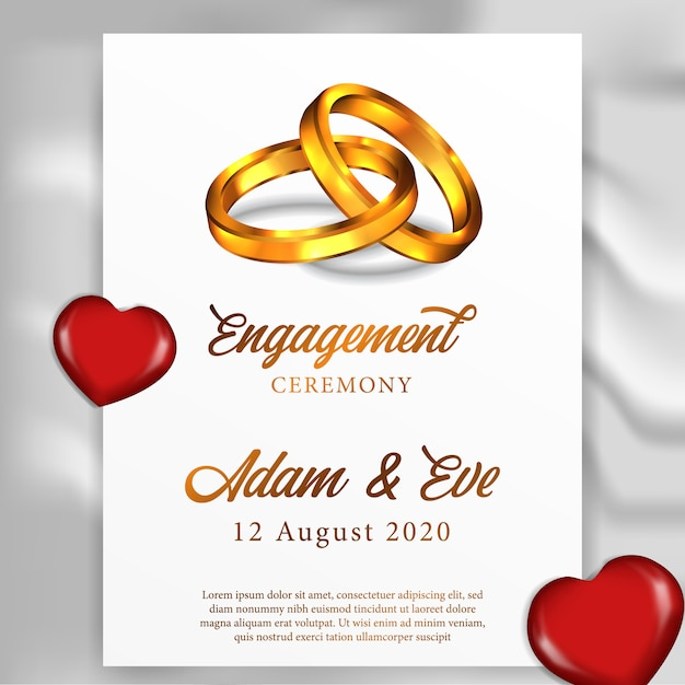 Ring engagement wedding greeting card template Premium Vector