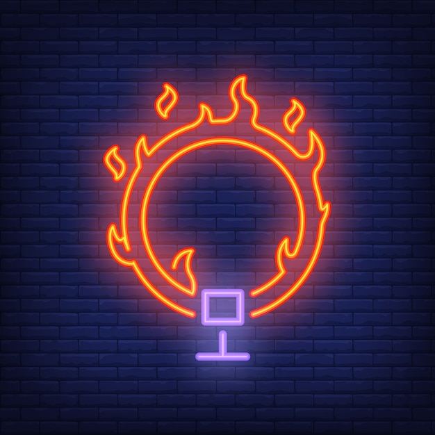 Ring On Fire Neon Icon. Circus Flaming Hoop On Dark Brick Wall Background.  Free