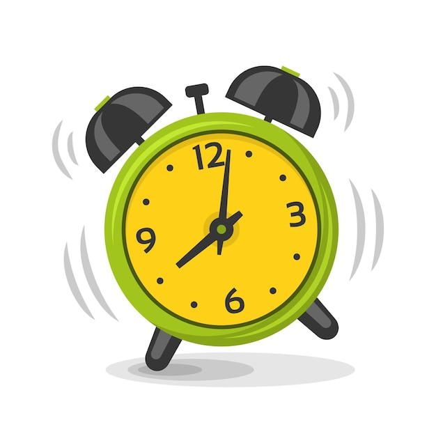 Звонок будильника с иллюстрацией двух колоколов. мультфильм изолированное динамическое изображение, утренний будильник зеленого и желтого цвета Premium векторы
