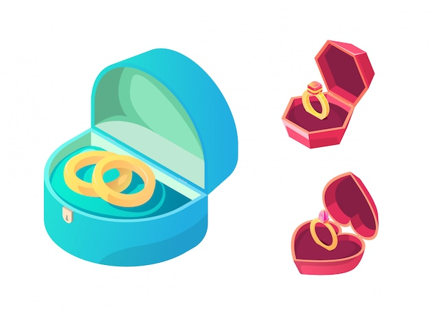 Rings for wedding and engagement in various boxes Free Vector