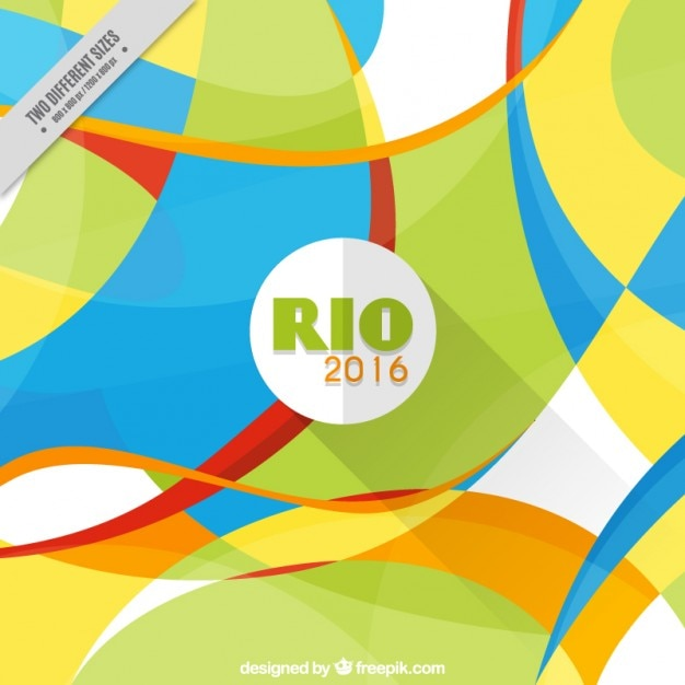 Rio 2016 background with abstract shapes in flat design
