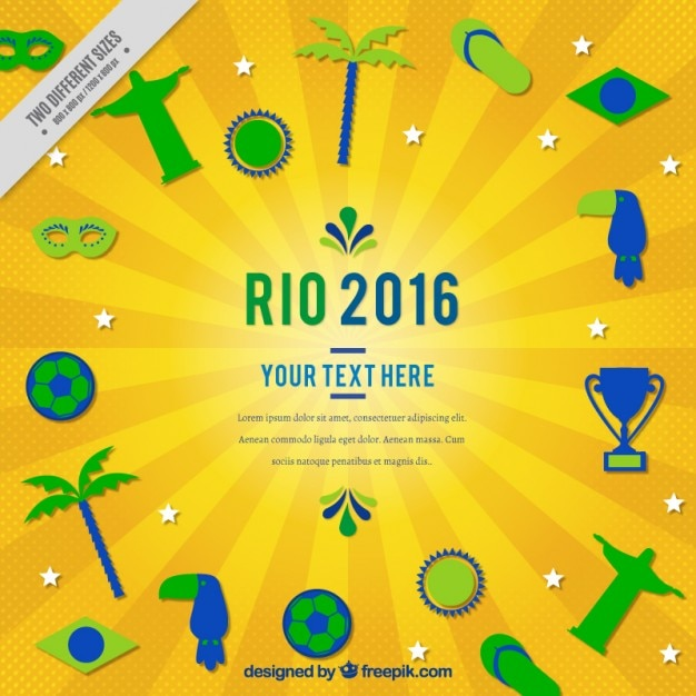 Rio 2016 background with sporty and traditional elements in flat design Free Vector