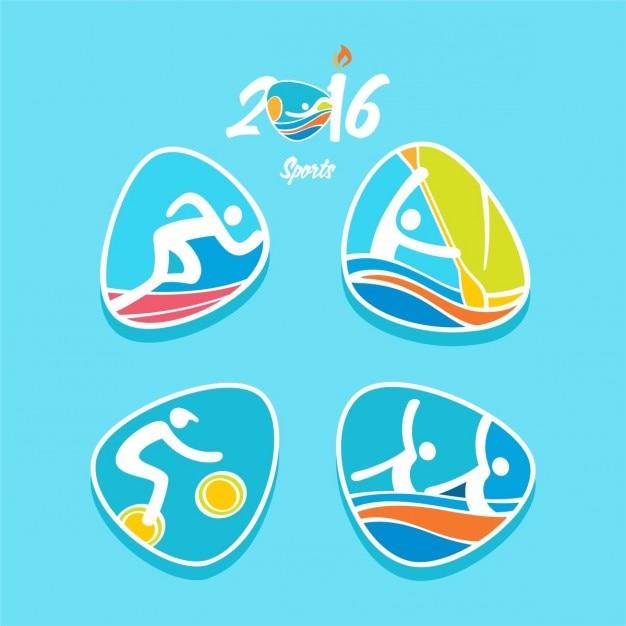 Rioオリンピックスポーツ2016陸上競技アクションのロゴセットで 無料ベクター