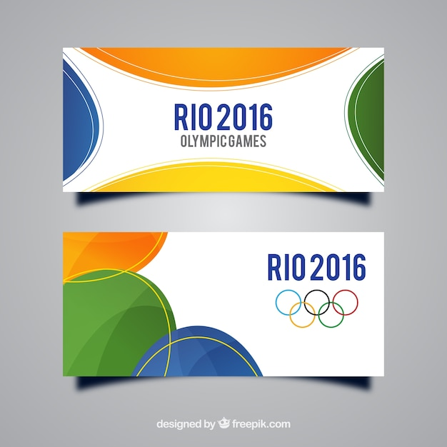 Rio banners with colored shapes Free Vector